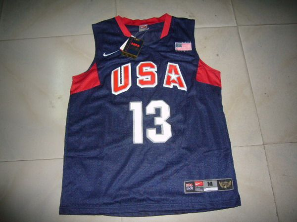 NBA Olympic USA #13 PAUL BLUE Basketball Jersey