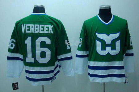 Hartford Whalers 16 Verbeek Green Color CCM Hockey Jerseys