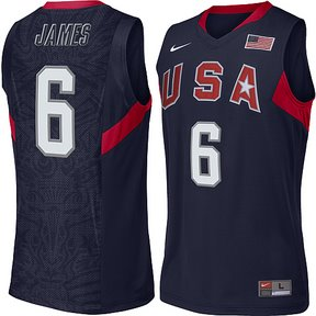 2008 USA Basketball #6 LeBron James Swingman Blue Jersey