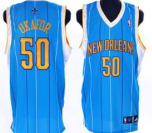 New Orleans Hornets #50 Okafor Authentic Blue Jersey