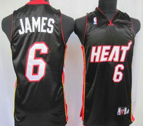 Basketball Kids jerseys Miami Heat 6 James black