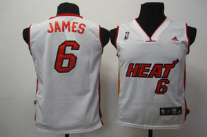 Kids Swingman jerseys Miami Heat 6 James white