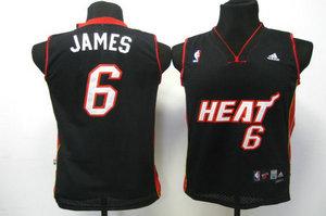 Kids Swingman jerseys Miami Heat 6 James black