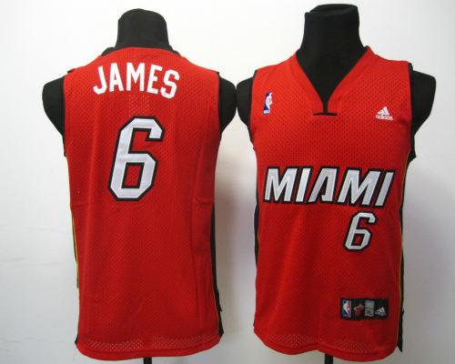 Kids Swingman jerseys Miami Heat 6 James red