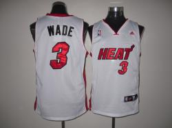 NBA Minmi Heat #3 Dwyane WADE White Jerseys swingman