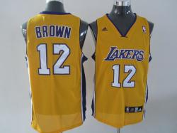 NBA Los Angeless Lakers #12 Brown Yellow Jerseys swingman