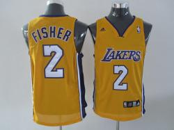 NBA Los Angeless Lakers #2 Fisher Yellow Jerseys swingman