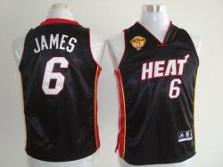NBA Miami Heat #6 Lebron James Kid Black finals jerseys
