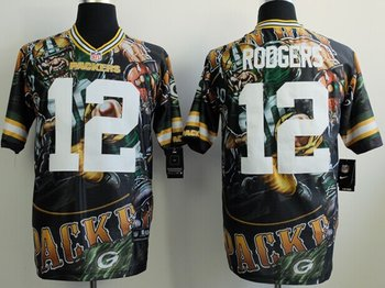 2014 New Nike Green Bay Packers 12 Rodgers Fashion Elite Fanatical Version Jerseys