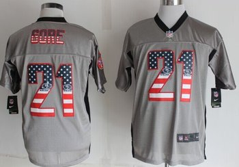 2014 New Nike San Francisco 49ers 21 Gore USA Flag Fashion Grey Shadow Elite Jerseys