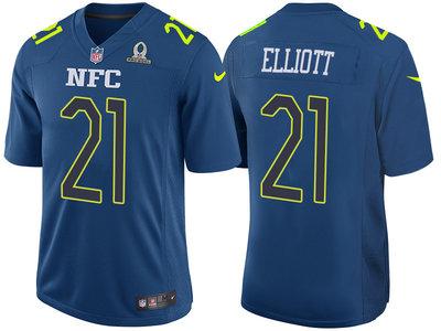 2017 Pro Bowl NFC Dallas Cowboys 21 Ezekiel Elliott Navy Game Jersey
