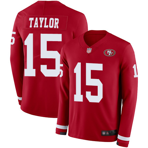 49ers #15 Trent Taylor Red Team Color Men's Stitched Football Limited Therma Long Sleeve Jersey