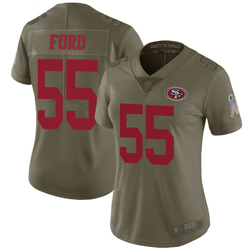 49ers #55 Dee Ford Olive Women's Stitched Football Limited 2017 Salute to Service Jersey