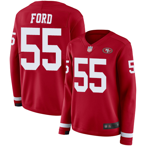 49ers #55 Dee Ford Red Team Color Women's Stitched Football Limited Therma Long Sleeve Jersey