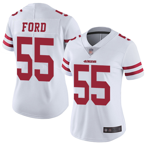 49ers #55 Dee Ford White Women's Stitched Football Vapor Untouchable Limited Jersey