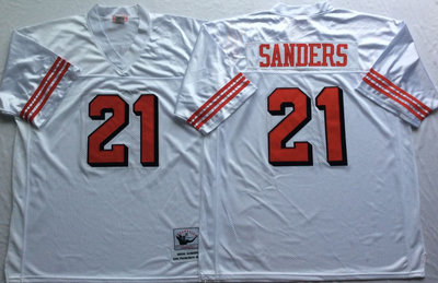 49ers 21 Deion Sanders White 75th Throwback Jersey