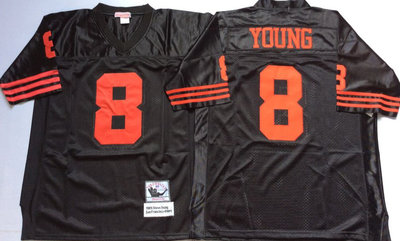 49ers 8 Steve Young Black Throwback Jersey
