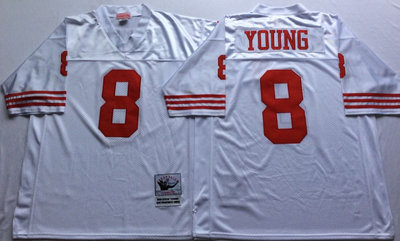 49ers 8 Steve Young White Throwback Jersey