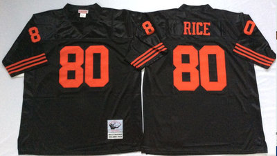 49ers 80 Jerry Rice Black Throwback Jersey