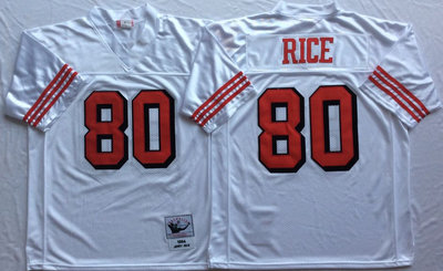 49ers 80 Jerry Rice White 75th Throwback Jersey