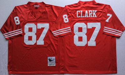 49ers 87 Dwight Clark Red Throwback Jersey
