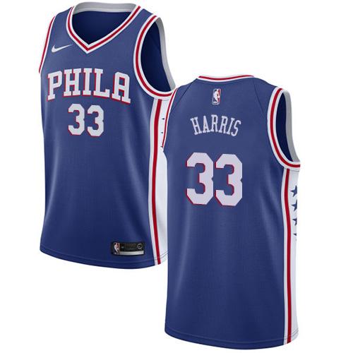 76ers #33 Tobias Harris Blue Basketball Swingman Icon Edition Jersey
