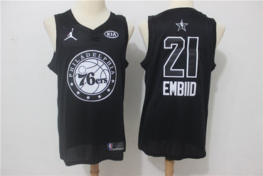 76ers 21 Joel Embiid Black 2018 All-Star Game Swingman Jersey
