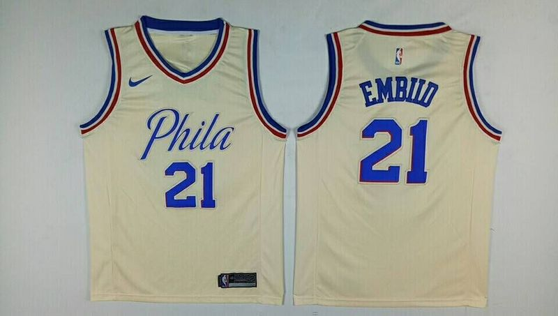 76ers 21 Joel Embiid Cream City Edition Nike Swingman Jersey