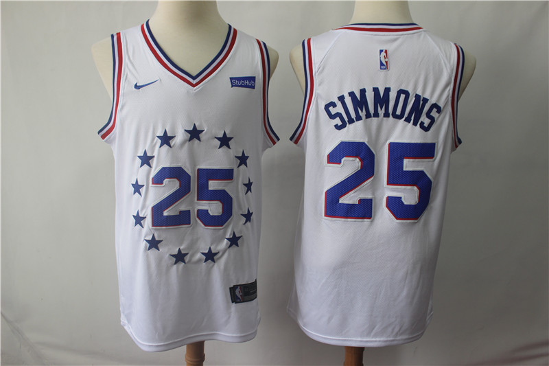 76ers 25 Ben Simmons White 2018-19 Earned Edition Nike Swingman Jersey