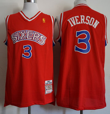 76ers 3 Allen Iverson Red 1996-97 Red Hardwood Classics Jersey