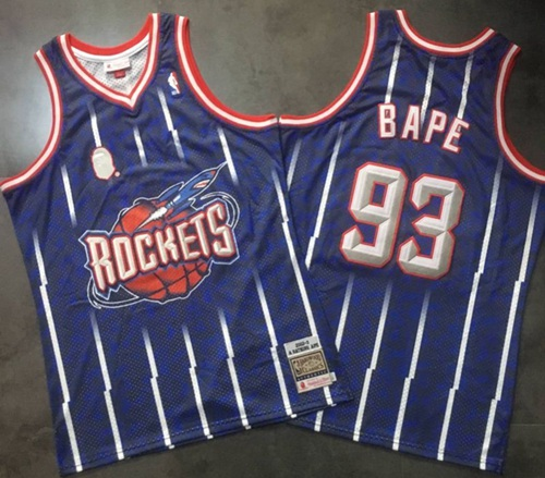 A Bathing Ape Rockets #93 Bape Navy Stitched Basketball Jersey