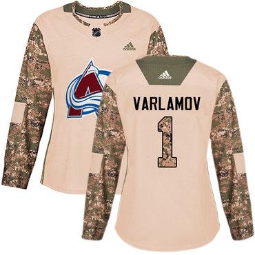 Adidas Avalanche #1 Semyon Varlamov Camo Authentic 2017 Veterans Day Women's Stitched NHL Jersey