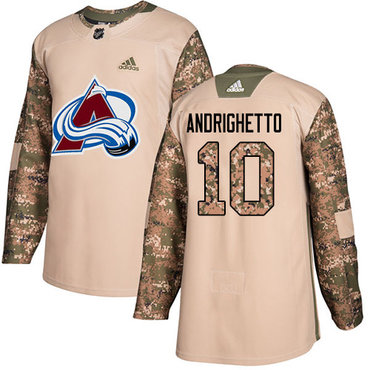 Adidas Avalanche #10 Sven Andrighetto Camo Authentic 2017 Veterans Day Stitched Youth NHL Jersey