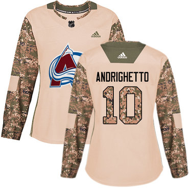 Adidas Avalanche #10 Sven Andrighetto Camo Authentic 2017 Veterans Day Women's Stitched NHL Jersey
