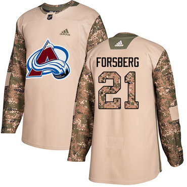 Adidas Avalanche #21 Peter Forsberg Camo Authentic 2017 Veterans Day Stitched Youth NHL Jersey