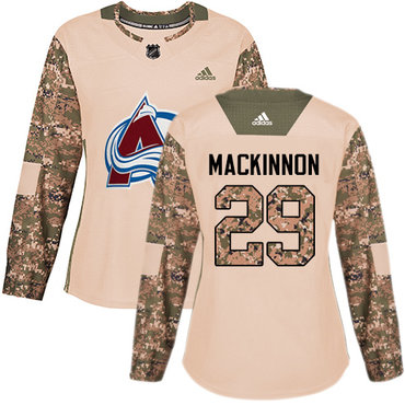 Adidas Avalanche #29 Nathan MacKinnon Camo Authentic 2017 Veterans Day Women's Stitched NHL Jersey