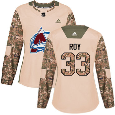 Adidas Avalanche #33 Patrick Roy Camo Authentic 2017 Veterans Day Women's Stitched NHL Jersey