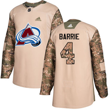 Adidas Avalanche #4 Tyson Barrie Camo Authentic 2017 Veterans Day Stitched Youth NHL Jersey