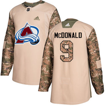Adidas Avalanche #9 Lanny McDonald Camo Authentic 2017 Veterans Day Stitched Youth NHL Jersey