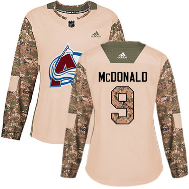 Adidas Avalanche #9 Lanny McDonald Camo Authentic 2017 Veterans Day Women's Stitched NHL Jersey
