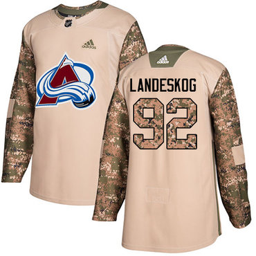 Adidas Avalanche #92 Gabriel Landeskog Camo Authentic 2017 Veterans Day Stitched Youth NHL Jersey