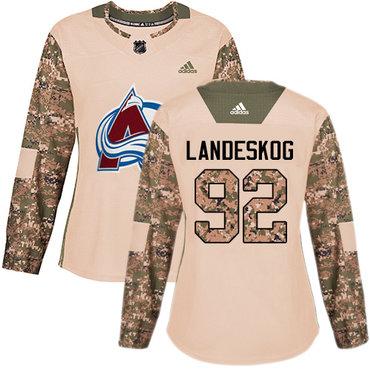 Adidas Avalanche #92 Gabriel Landeskog Camo Authentic 2017 Veterans Day Women's Stitched NHL Jersey
