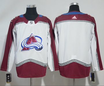 Adidas Avalanche Blank White Road Authentic Stitched NHL Jersey