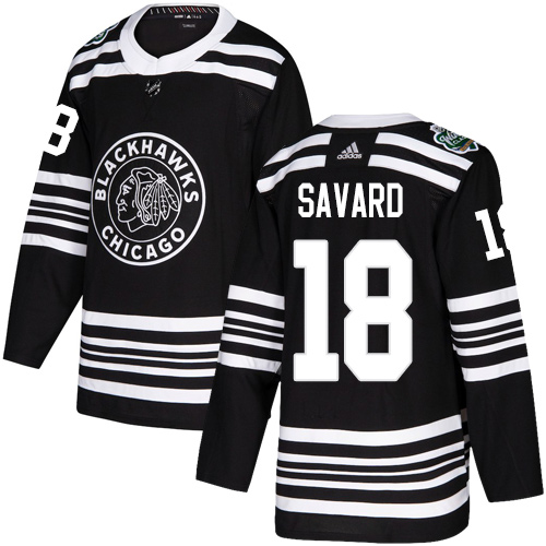 Adidas Blackhawks #18 Denis Savard Black Authentic 2019 Winter Classic Stitched NHL Jersey