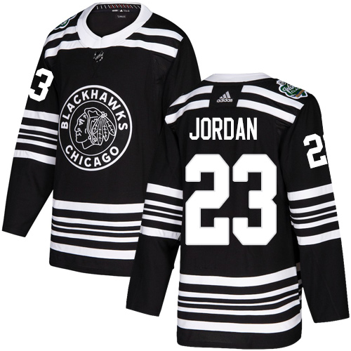 Adidas Blackhawks #23 Michael Jordan Black Authentic 2019 Winter Classic Stitched NHL Jersey