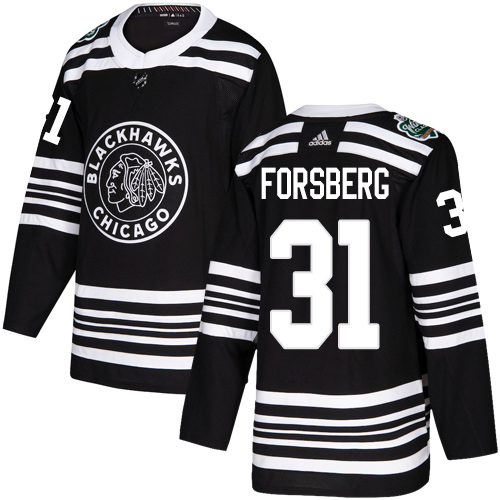Adidas Blackhawks #31 Anton Forsberg Black Authentic 2019 Winter Classic Stitched NHL Jersey