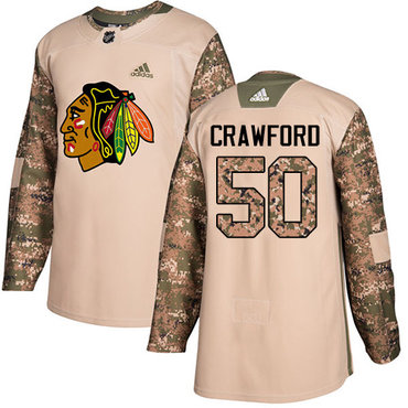 Adidas Blackhawks #50 Corey Crawford Camo Authentic 2017 Veterans Day Stitched Youth NHL Jersey
