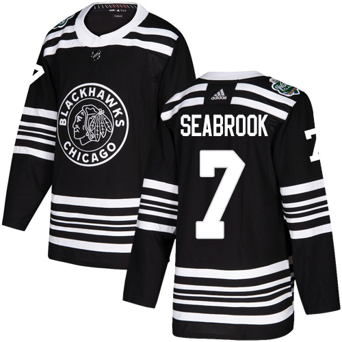 Adidas Blackhawks #7 Brent Seabrook Black Authentic 2019 Winter Classic Stitched NHL Jersey