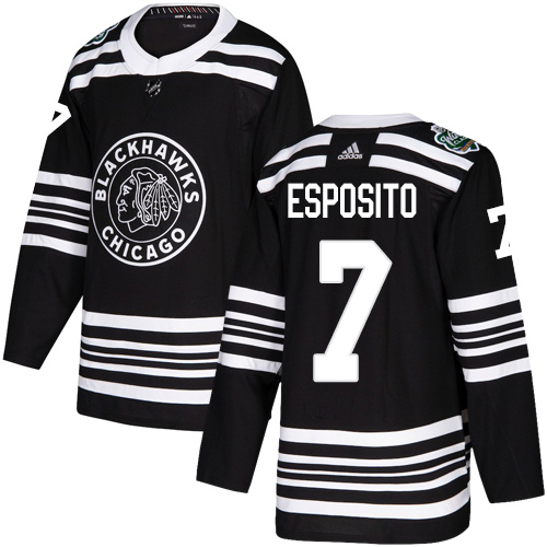 Adidas Blackhawks #7 Tony Esposito Black Authentic 2019 Winter Classic Stitched NHL Jersey