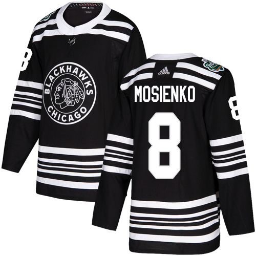 Adidas Blackhawks #8 Bill Mosienko Black Authentic 2019 Winter Classic Stitched NHL Jersey